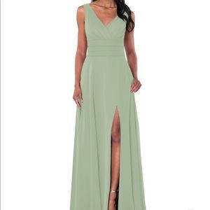 Azazie Bianca Dusty Sage dress